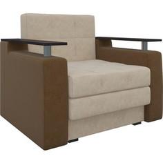 Кресло-кровать АртМебель Комфорт микровельвет бежево-коричневый