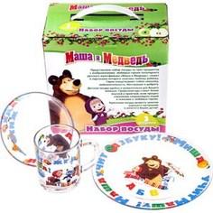 Набор посуды для детей 3 предмета МФК-профит Маша и Медведь Азбука (9559002)