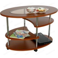 Стол журнальный Калифорния мебель Эллипс со стеклом СЖС-01 вишня