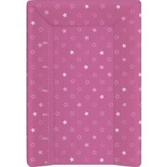 Матрас пеленальный Ceba Baby (Себа Беби) 70 см с изголовьем на кровать 120*60 см Stars dark pink W-201-066-132