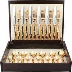Набор столовых приборов Cutipol Mithos gold из 24-х предметов 9151