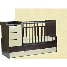 Кроватка трансформер СКВ Компани 5 опускающаяся боковина поперечный маятник 4 ящика накладка ПВХ венге ясень крем фасад жираф КС540-0496540038-410