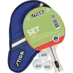 Набор для настольного тенниса Stiga Stream 1* (ракетка, чехол и 3 мяча)