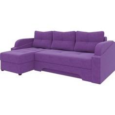 Угловой диван АртМебель Панда микровельет фиолетовый левый
