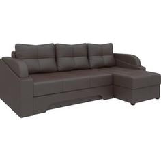 Угловой диван АртМебель Панда эко-кожа коричневый правый