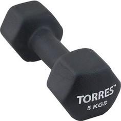 Гантель Torres 5 кг - 1 шт (PL55015) в неопреновой оболочке черный