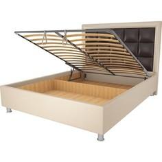 Кровать OrthoSleep Альба бисквит-шоколад механизм и ящик 160х200