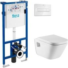 Комплект Roca Gap Duplo WC унитаз подвесной с инсталляцией, кнопка хром (346477000, 890090020, 890095001)