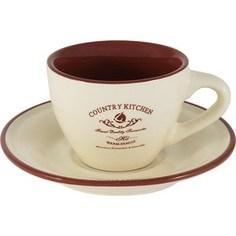Чашка с блюдцем Terracotta Кухня в стиле Кантри (TLY314S2-CK-AL)
