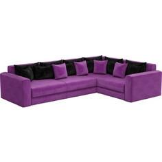 Угловой диван АртМебель Мэдисон Long микровельвет фиолетовый фиолетово/черный правый угол