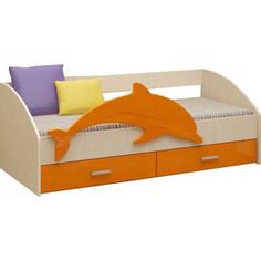 Кровать Регион 58 Дельфин 4 оранжевый/белфорт МДФ 80x160