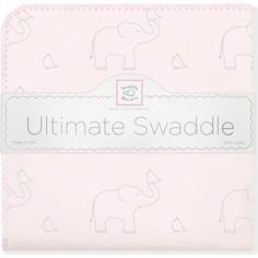 Фланелевая пеленка SwaddleDesigns для новорожденного Слоники с птичками розовая (SD-352SP)