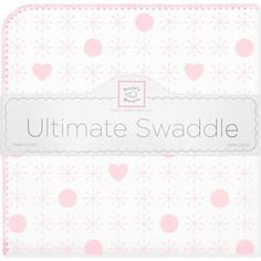 Пеленка фланель для новорожденного SwaddleDesigns Ultimate Jax & Hearts Pink