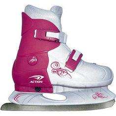 Коньки ледовые раздвижные Action PW-219-1 р. 37-40 (розовый/белый) Action!