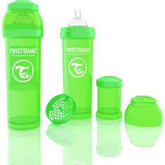 Twistshake Антиколиковая бутылочка для кормления 330 мл. Зелёная (780016)