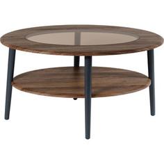 Стол журнальный Калифорния мебель Эль со стеклом СЖС-01 грецкий орех