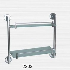 Полка RainBowL Long стекло прямая с ограничителем 2-этажная (D2202)