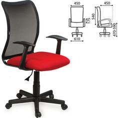 Кресло оператора Brabix Spring MG-307 с подлокотниками комбинированное красное/черное TW 531405