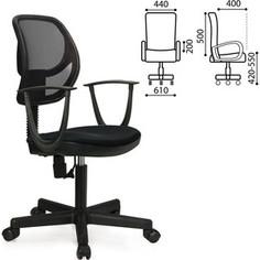 Кресло оператора Brabix Flip MG-305 до 80 кг с подлокотниками черное TW 531417
