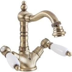 Смеситель Cezares First для биде с донным клапаном, бронза, ручки белые (First-BS2-02-Bi)