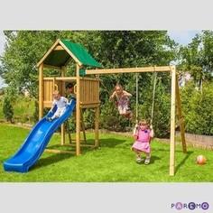 Набор для игровой площадки PAREMO детский домик с песочницей и 2скатной крышей, горкой и 2мя качелями PS217-01