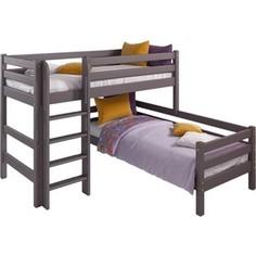 Угловая кровать Мебельград Соня с прямой лестницей вариант 7 лаванда