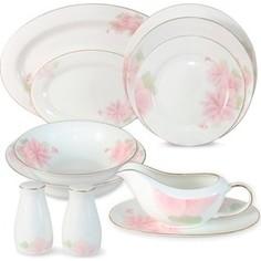 Обеденный сервиз 27 предметов на 6 персон Anna Lafarg Emily Розовые цветы (AL-HV004011/27-E5)