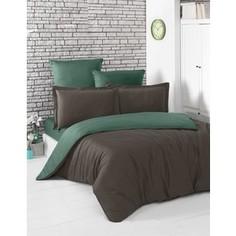 Комплект постельного белья Karna Евро, сатин, двухстороннее Loft шоколадный-зеленый (2984/CHAR009)