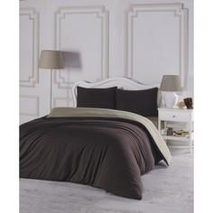 Комплект постельного белья Karna Евро, трикотаж, двухстороннее Sofa коричневый-бежевый (2988/CHAR006)