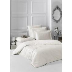 Комплект постельного белья Karna 1,5 сп, сатин, однотонный Loft екрю (2985/CHAR002)