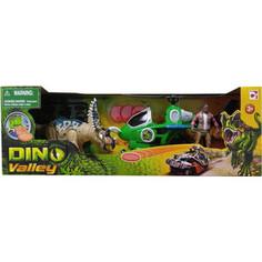 Игровой набор Chap Mei Динозавр Трицератопс и охотник на вертолете (стреляет) (520152-1)