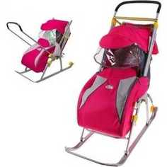 Санки-коляска Ника Детям 4 (розовый) НД4 Nika