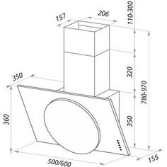 Вытяжка MAUNFELD TOWER L (PUSH) 50 черный/черное стекло