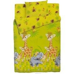 Комплект постельного белья Облачко Джунгли в детскую кроватку с простынью на резинке (178470)