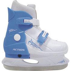 Коньки ледовые раздвижные Action PW-219-2 р. 33-36 (голубой/белый) Action!