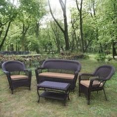 Плетеный диван с креслами и столиком Afina garden LV130 brown/beige