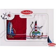 Набор из 2 полотенец Hobby home collection Marina 50x90 2 штуки бело-красный (1501001060)
