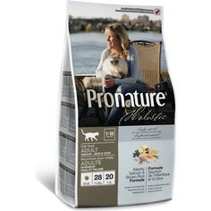 Сухой корм Pronature Holistic Adult Cat Skin&Coat Atlantic Salmon & Brown Rice с лососем и рисом для здоровья кожи и шерсти у кошек 5,44кг (102.2031)