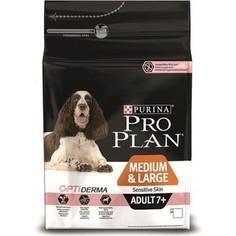 Сухой корм PRO PLAN OPTIDERMA Sensitive Skin Adult 7+Medium & Large лосось для пожилых средних и крупных собак с чувствительной кожей 14кг(12272547)