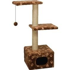 Когтеточка Зооник Дом с 2-мя площадками цветной мех для кошек 400 х 360 х 980см (22011)