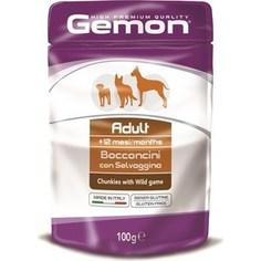 Паучи Gemon Dog Adult Chunkies with Wild Game с дичью кусочки для собак 100г