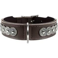 Ошейник Hunter Collar Basic Rom 55 (41-49см) натуральная кожа коричневый/черный для собак