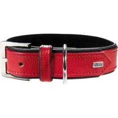 Ошейник Hunter Collar Capri 45 nickel (33-39см) натуральная кожа красный/черный для собак