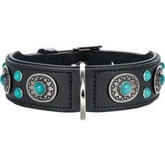 Ошейник Hunter Collar Sioux 55 nickel-plated (41-49см) кожа черный фурнитура с имитацией бирюзы для собак