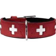Ошейник Hunter Collar Swiss 75 (61-68,5см) кожа красный/черный для собак