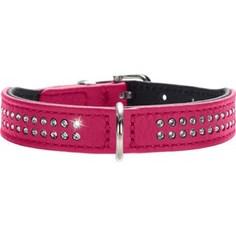 Ошейник Hunter Collar Diamond Petit 27 nickel-plated (20-24см) кожа 2 ряда страз розовый для собак