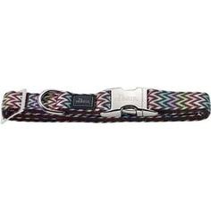 Ошейник Hunter Collar Krazy Zigzag ALU-Strong S/15 (30-45cм) нейлон с металлической застежкой мотив зигзаг для собак