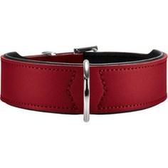 Ошейник Hunter Collar Basic 55 nickel (41-49см) кожа красный/черный для собак