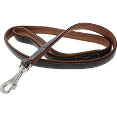 Поводок CoLLaR SOFT кожаный двойной 122см*25мм черный верх, коричневый низ для собак (7258)