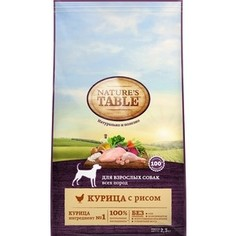 Сухой корм NATURES TABLE Курица с рисом для взрослых собак мелких пород 2,3кг (10179259)